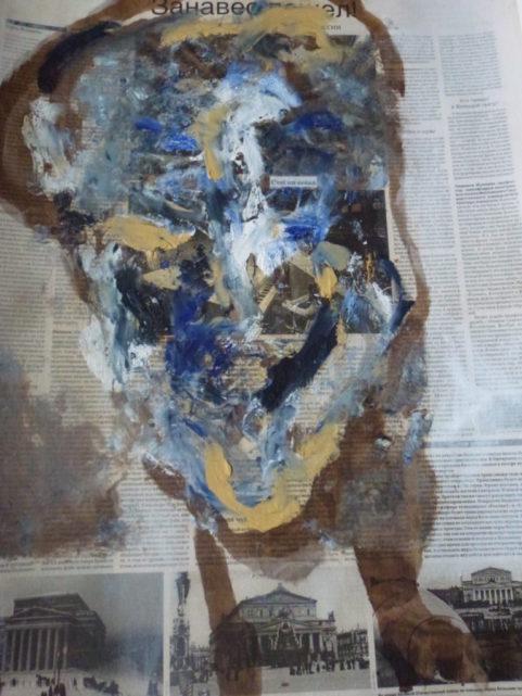 D'autres nouvelles « S'abandonner tard » . encre & peinture à l'huile sur papier journal Russe . 2011