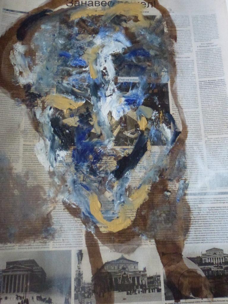D'autres nouvelles « S'abandonner tard » encre et peinture à l'huile sur papier journal Russe, marouflé sur papier . 2011