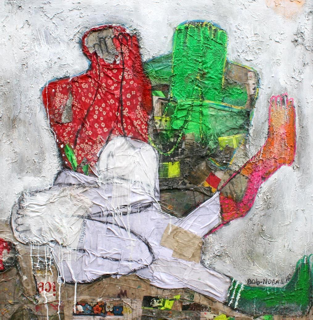 See no evil mixed media on textuerd canvas 2016