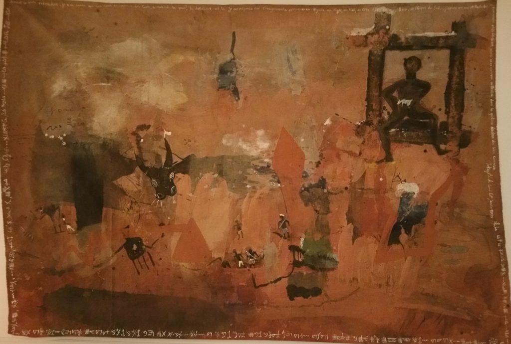 Signe de Dieu 2000 technique mixte et latérite sur bâche 155×225 cm
