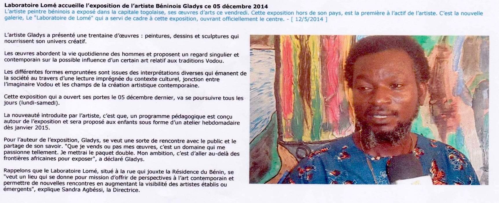 Ici Lomé . Gladys . Decembre 2014