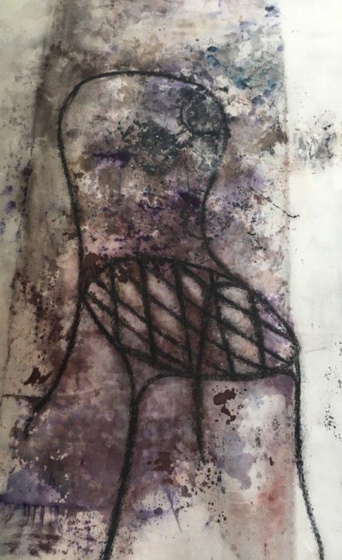 Présence de l'ombre . fusain, encre & pigments sur toile . 2006