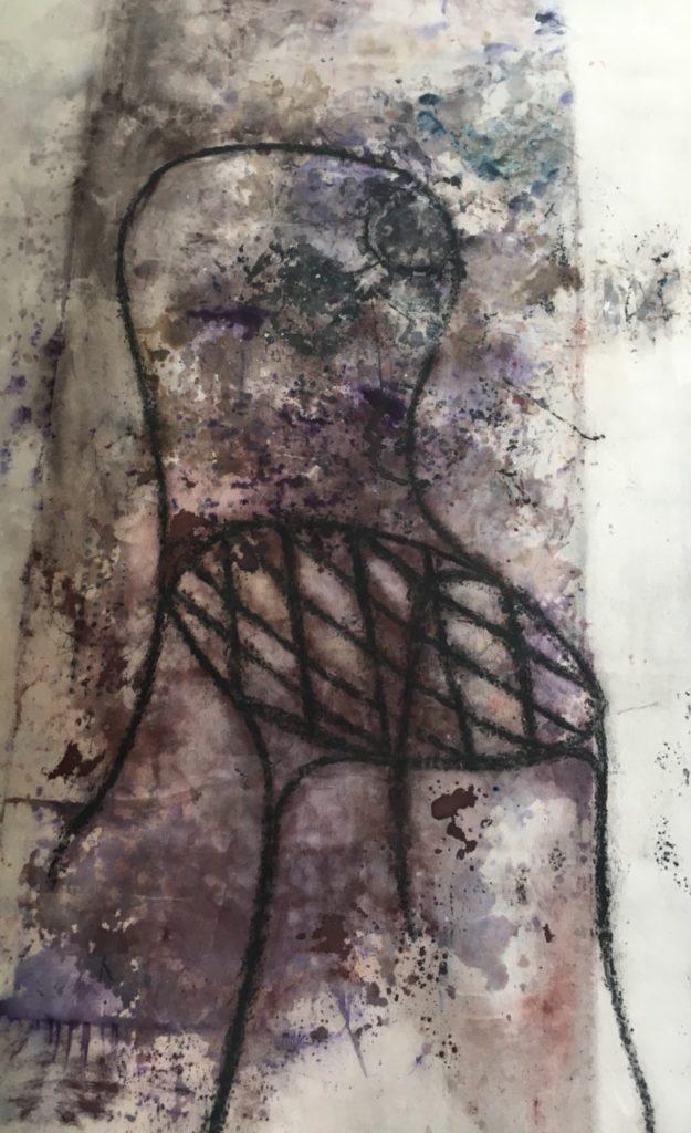 Présence de l'ombre fusain, encre et pigments sur toile . 2006