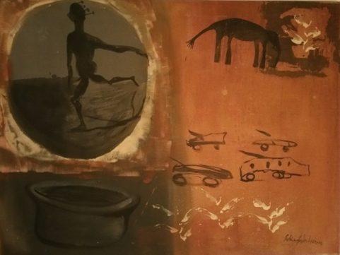 La Fuite . 1994 . technique mixte et latérite sur toile