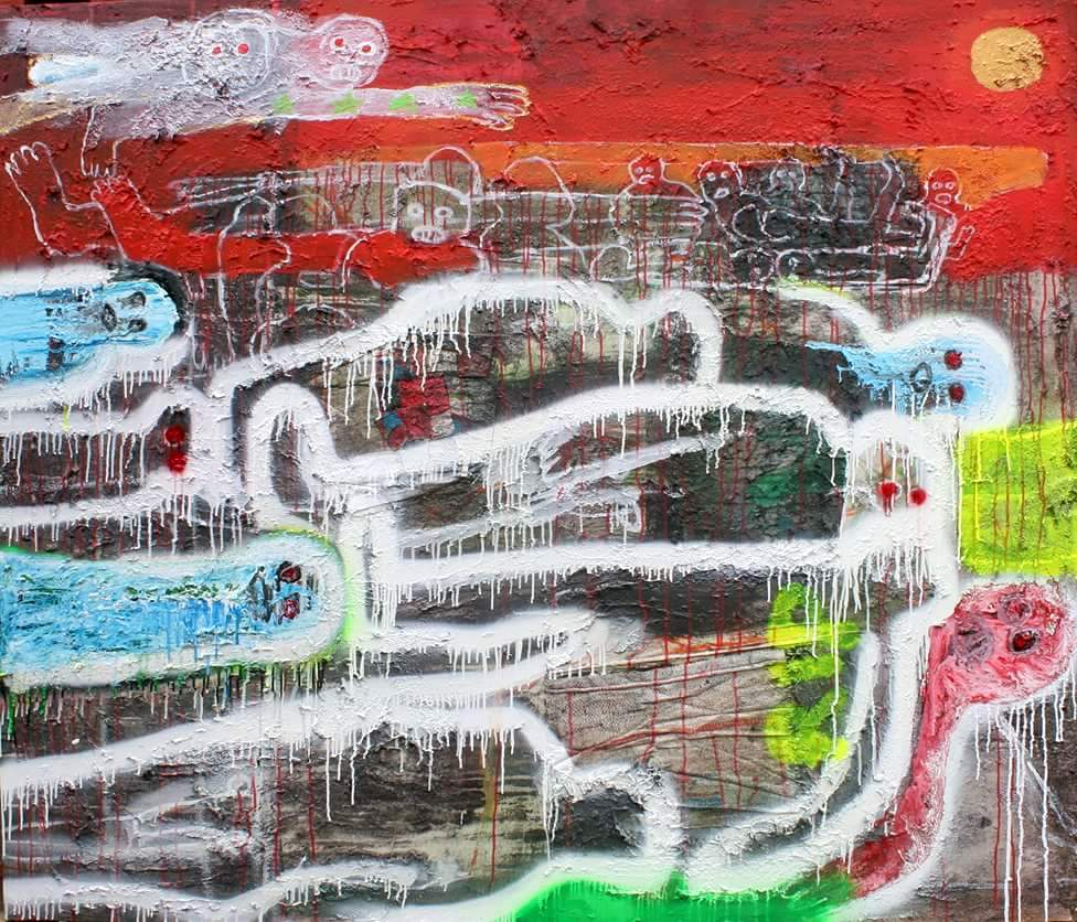 The floating dead body's . acrylic, spray paint on textured canvas