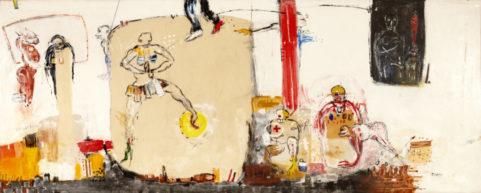 Récréation 2009 . mixed media on canvas 180x450cm
